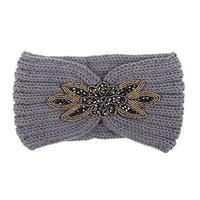 Hunputa 2016 Newest Womens Girl Flower Reinstone Knit Ear Warmer Wide Headband Hair Wrap