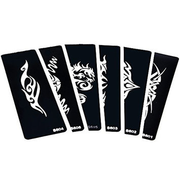 6 Sheets Small Hollow Henna Tattoo Stencil for Women Men Body Art Indian Mehndi Dragon