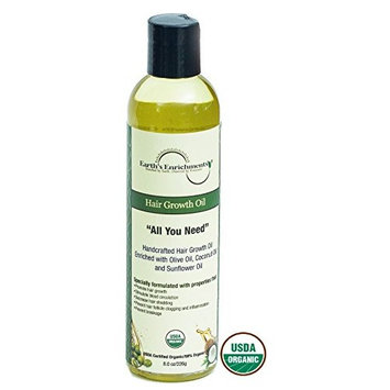 Hair Oil for Growth, Organic and Vegan, Enriched with Tea Tree, Rosemary, and a Touch of Castor Oil, Reduces Shedding, Split Ends and Hair Breakage, Great for Thick, Straight and or Curly Hair, 8oz