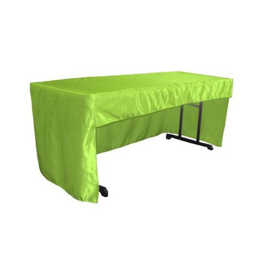 LA Linen TCbridal-OB-fit-96x30x30-LimeB84 2.47 lbs Open Back Fitted Bridal Satin Classroom Tablecloth Lime - 72 x 30 x 30 in.