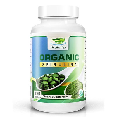Healthies 100% USDA Organic (NO Additives) Spirulina Tablets 2000mg - The Secret Green Superfood That You're Missing Out On! (120 Count, 30 Day Supply)