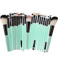 Fenleo 22 Pcs Makeup Brush Set Professional Premium Synthetic Foundation Blending Blush Concealer Eye Face Liquid Powder Cream Cosmetics Brushes Kit Green Handle