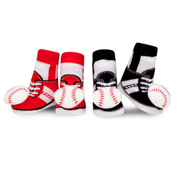 Waddle and Friends 2 Pack Boutique Boys Baby Socks Baseball Shoe Socks Newborn Booties 0-12 Months Baby Slippers Red and Black with Sensory Baby Rattle Foot Finders Baby Shower Gift Idea!