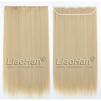 Straight Long Clip in Hair Extensions 3/4 Full Head Synthetic Hair Clip in on Brown Mixed Blonde Hairpieces