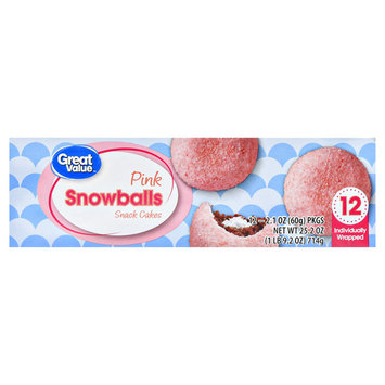 Great Value Pink Snowballs Snack Cakes, 25.2 oz, 12 Count