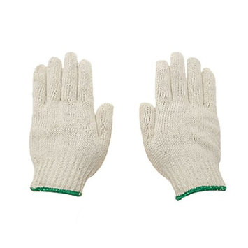 uxcell 12 Pairs White Factory Industry Protective Elastic Cuff Knitted Cotton Work Gloves