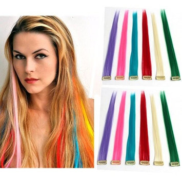 HairPhocas 12 Pieces of 20 Inches Straight Colored Party Highlight Clip in Synthetic Hair Extensions Multiple Colors (12 Pcs Multi-Colors)
