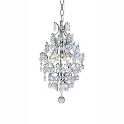 Hampton Bay Pendant Lights 3-Light Chrome and Crystal Branches Pendant