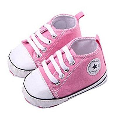WAYLONGPLUS Infant Cute Canvas Sneaker Toddler Prewalker Anti-skid Soft Trainer Shoes (Pink, Size12)