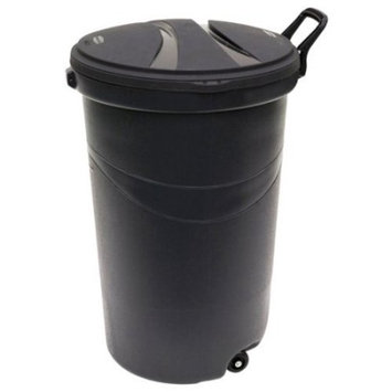 Rubbermaid RM5H9601 Thirty Two Gallon/121.1L Wheeled Black Trash Can with Handle-32 Gallon Black Rubbermaid Garbage Can with Handle