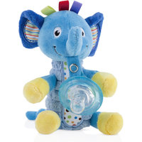 Nuby Snoozie Plush Pacifinder with Small Natural Flex Cherry Pacifier, 0-6 Months, Blue Elephant - 1 Count