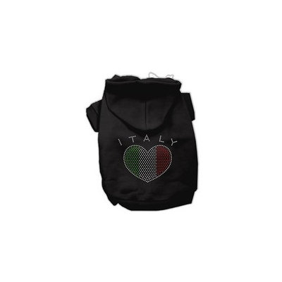 Mirage Pet Products Italian Rhinestone Hoodies, Black, X Small