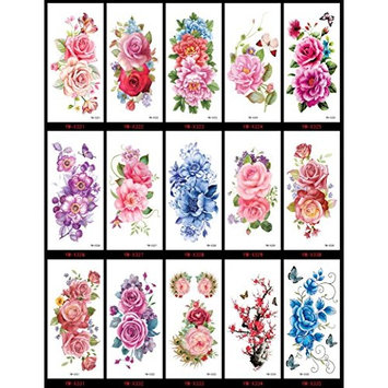 Spestyle waterproof and non toxic tattoo 15pcs colorful flowers fake temporary tattoos tattoo stickers in a packages,including roses,peony,butterflies,etc.