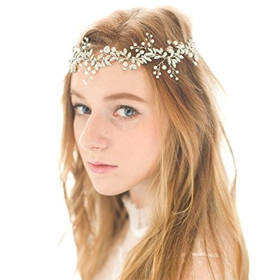Queenco Handmade Crystal Wedding Head Band Bridal Hair Accessories Rhinestones Headpieces (Silver Tone)