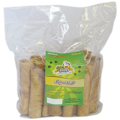 Mr Bites 5-Inch Rawhide Retriever Roll for Dogs, Chicken Flavor, 20-Pack