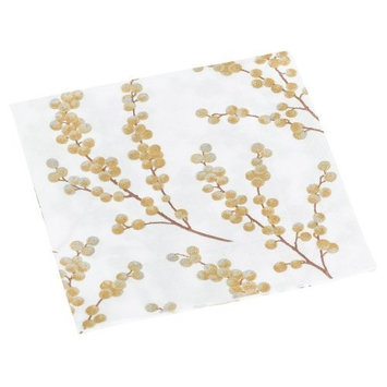 Entertaining with Caspari Berry Branches Paper Cocktail Napkin, White and Gold, Box of 40