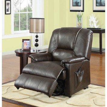Benzara Reseda Recliner with Power Lift & Massage, Brown