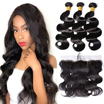 Gem Beauty Brazilian Hair Body Wave 3 Bundles With Ear to Ear Frontal Closure Unprocessed Wavy Weave Human Hair Bundles with Frontal Pre Plucked Baby Hair Deals (12 with 14 16 18, natural black)