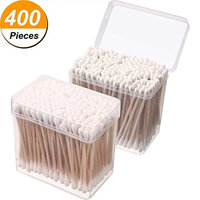 Cuteya 400 Pieces Double-sided Wooden Swabs Cotton Swabs with Clear Boxes for Beauty Cleaning Machine and Art