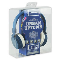 Cliptec Blue Uptown Muisc Stereo 3.5mm Wired Volume Control Headset Earphone On Ear Headphone w/Mic