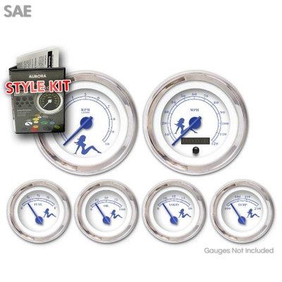 Aurora Instruments GARA70ZEXPABCF Style Kit - SAE Mudflap Blue Text, White, Blue Modern Needles, Chrome Trim