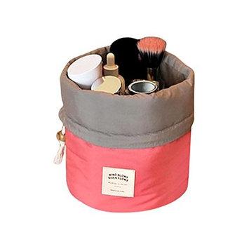 Ladies Makeup Pouch,POTO Women Girl Portable Cosmetic Beauty Travel Round Storage Bag Makeup Case Clutch Organizer Makeup Bag Gargle Toiletry Bag RY-692