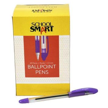 School Smart 1572355 1.0mm Pen Grip Medium Ballpoint Purple - Pack of 48