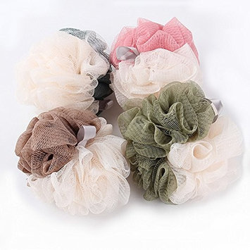 loofah shower, Shower Bouquet, shower poofs, Eco-friendly Mesh Bath and Shower Sponge,Full Lather Cleanse Exfoliate with Beauty Bathing Accessories (4-pack Color Swirls)