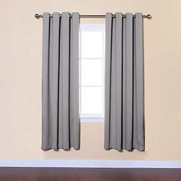 Best Home Fashion Grey Solid Grommet Top Thermal Insulated Blackout Curtains Set: 104 W x 72 L Panel: 52 W x 72