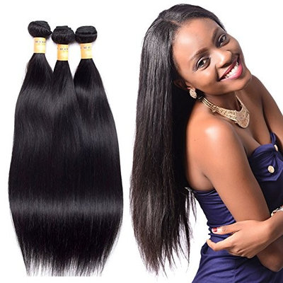 Black Rose Hair Brazilian Virgin Remy Straight Hair Weave Unprocessed Human Hair Extensions Silky Straight Human Hair Bundles Natural Color Pack of... []