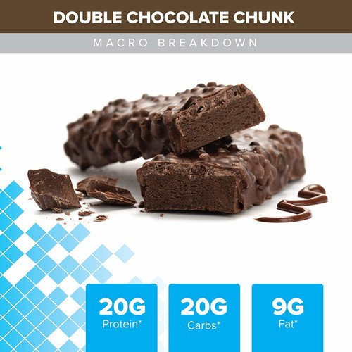 Bodybuilding Signature Protein Crunch Bar | 20g Whey Protein Low Sugar | Gluten Free No Artificial Flavors | (12 Bars, Double Chocolate Chunk)