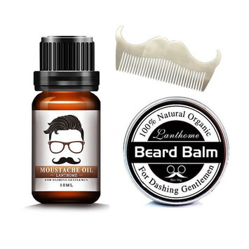 Beard Grooming Kit for Men Care Beard Balm, Mustache Comb, Beard Oil Leave-in Conditioner Natural Organic Oils Butter Wax Mustache Styling, Shaping, Grooming & Growth Gift Set (Oil+Balm+Comb)