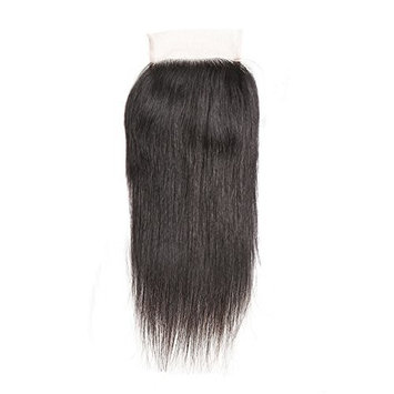 ISEE Brazilian Virgin Hair Straight Free Part 4X4 Lace Closure 100% Unprocessed Human Hair Lace Closure (12