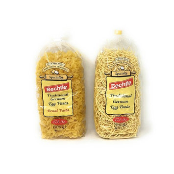 Bechtle Traditional German Cage Free Egg Pasta Variety Bundle Of Two 17.6 Ounce Bags: Broad and Klusky