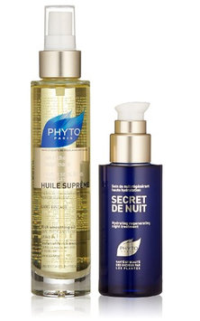 Phyto 2 Piece Set: Phyto Huile Soyeuse Lightweight Hydrating Oil, 3.4 Oz, Phyto Secret De Nuit Hydrating Regenerating Night Treatment, 2.5 Oz