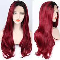ZeroBlizzard Long Straight Wave Wig Red Wine 2 Tone Ombre Synthetic Lace Front Wigs Wavy Pre Plucked Burgundy Wig With Baby Hair and Bleached Knots for Women