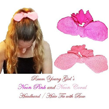 Ruum Young Girl's Neon Pink & Neon Coral Hairband w/ Bow (2pcs/set)
