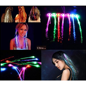 Ultra 25 x Mixed Colour Light Up Fibre Optic Hair Clip Clip in Coloured LED Hair Extensions Sets of Fiber LED Hair Extensions Light up Hair Battery Powered Extensions for Women Girls Optical Fibre Perfect for Parties Favours Gift Bags [25 Pack Mixed]