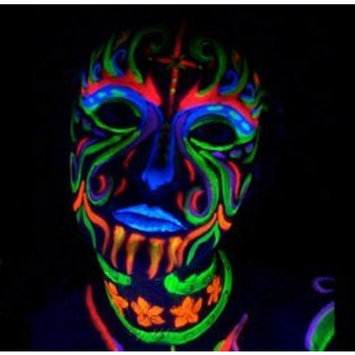 Black Light Reactive Neon Makeup with Black Light Pendant (Yellow)