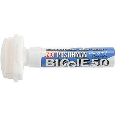 Zig Posterman Biggie 50mm Tip Marker-White 6PK
