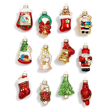 Glass Christmas Cheer Icon Mini Ornaments, Set of 12, Created for Macy's