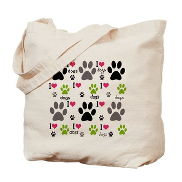 CafePress - I Love Dogs - Natural Canvas Tote Bag, Cloth Shopping Bag