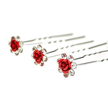 Happy Hours - 20Pcs Handmade U-Shaped Pearl Rose Flower Rhinestone Crystal Hair Pins Clips Barrette for Prom Party Wedding Bridal Bridesmaid Jewelry Accessories