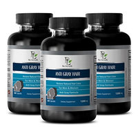 Hair growth - ANTI GRAY HAIR NATURAL COMPLEX 1200mg - Folic acid supplement - 3 Bottles 180 Capsules
