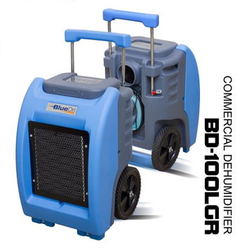 BlueDri BD-100LGR Green Commercial Dehumidifier for Water Damage Restoration Flood Moisture Mold Removal Water Treatment Janitorial