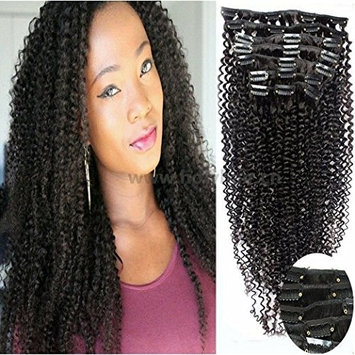 Art of Love 100% Human Hair Afro Kinky Curly Clip in Hair Extensions Natural Black Most Popular Weaves Clip on Hair Extension Pieces #1b Color 100g for Black Women