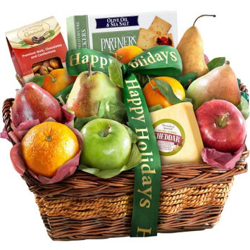 Golden State Fruit Happy Holidays Fruit with Cheese and Nuts Gift Basket, 13 pc