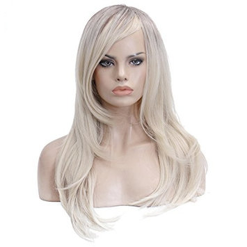 Yarui Long Straight Hair Wig with Side Bangs Heat Resistant Synthetic Brown Ombre Blonde Daily Cosplay Wig for Black Women 24