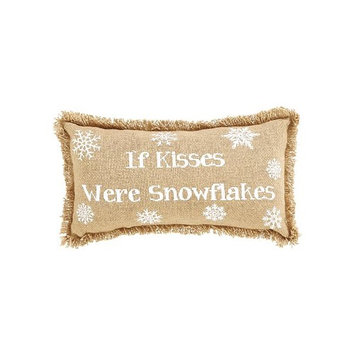 VHC Brands 26618 If Kisses were Snowflakes Burlap Pillow, Set of 2 - 7 x 13 in.