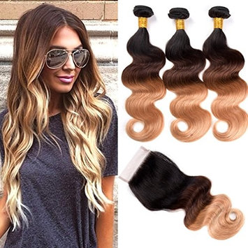 Ombre Bundles with Closure Brazilian Body Wave Bundles with Closure 10A Virgin Human Hair Bundles with Lace Closure Free Part(12 14 16 with 10 Inch Closure, 1B#/4#/27#)